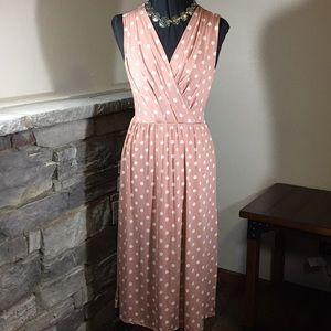 Gilli Peach & White Polka Dot Dress Small